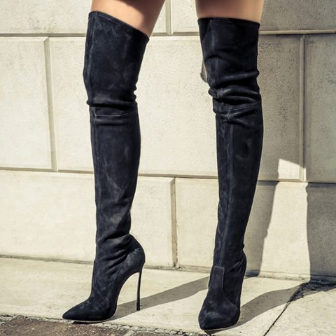 Winter newest pointed toe high heel boots sexy thigh high boots woman thin heels over the knee boots black suede riding boots 2018 sexy boots over knee high heel autumn winter fashion pointed toe thin heels thigh high long thin leg boots women nysiani