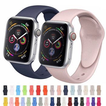 цена на Soft Silicone Replacement Sport Band For Apple Watch 42mm 38mm 40mm 44mm Wrist Bracelet Strap For iWatch  Series 1 2 3 4 Straps