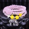 Budista tibetano 6 mm rosa Natural ágata 108 contas de oração Mala Bless pulseira colar com pingente de elefante rosário