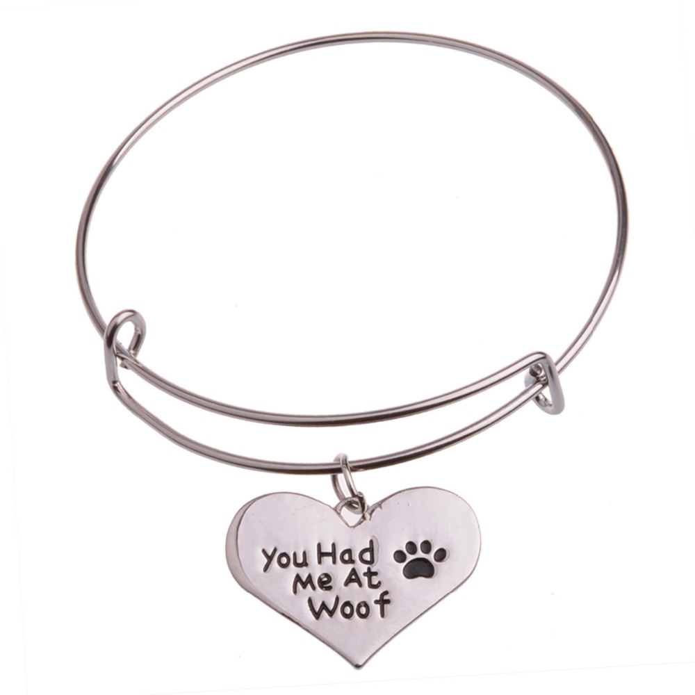 You Have Me At Woof Cat Dog Paw Footprint Heart Silver Plated ...