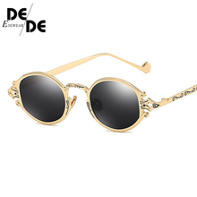 2019 New Small Oval Punk Sunglasses Women Brand Design Metal Round Vintage Men Sun glasses Goggles UV400