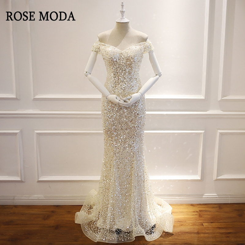 Rose Moda Luxury Bling Mermaid   Prom     Dresses   Long V Neck Backless Formal Crystal   Prom     Dress   Custom Make