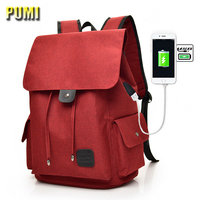 Men Women USB Charge Fashion Large Canvas Backpack Preppy Style 14 15 16 Laptop Computer Bag