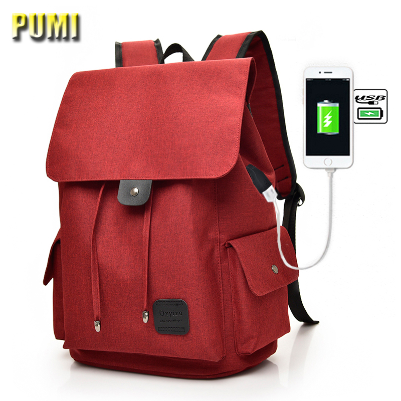 Men Women USB Charge Fashion Large Canvas Backpack Preppy Style 14 15 16 Laptop Computer Bag College Student School Bag Rucksack 2016 new style canvas leather patchwork fashion student school stachel book 15 inch travel shopping laptop computer backpack bag