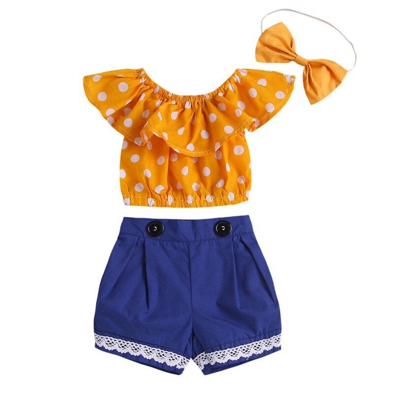 Nouveau Style de mode d'été filles tenues sans manches Dot Print hauts + Shorts costumes avec bandeau filles vêtements de sport ensembles