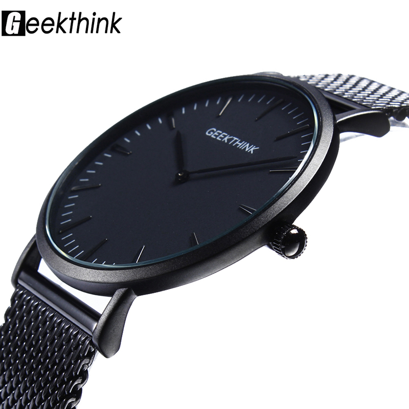 GEEKTHINK Top Luxury Brand Quartz Watch Men Casual Wristwatch Mesh Stainless Steel Ultra Thin Male Clock Simple Style Watches geekthink hollow out style men s watches skull fashion watches women quartz clock luxury brand wrsit watch skeleton casual