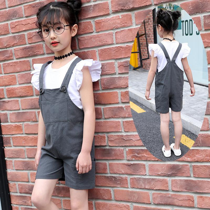 Summer Child Suit New Pattern Girl Korean Salopettes Twinset Child Fashion Suit 2 Pieces Kids Clothing Sets Suits autumn new pattern girl range child street wind cowboy salopettes cartoon t shirts suit 2 pieces kids clothing