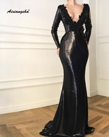 Muslime Style Sequin Mermaid Evening Dress 2019 Lace Appliques Beaded V Neck Full Sleeves Black Long Evening Dresses Ro Soiree