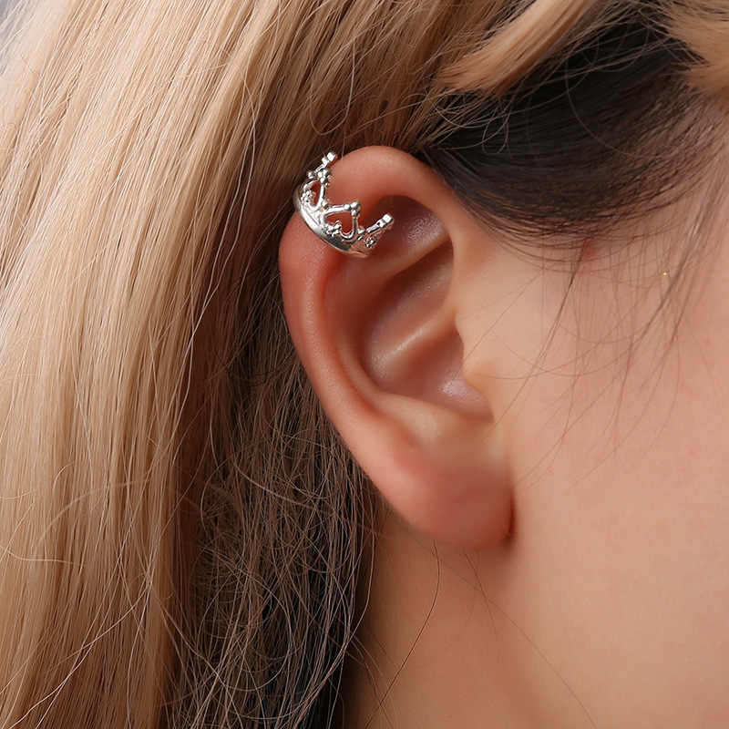 Elegant Cubic Zirconia Crown Ear Cuff Women Clip Earrings Retro Hollow U-shaped Crown Ear Bone Folder No Pierced Silver Col