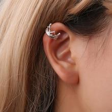 Elegant Cubic Zirconia Crown Ear Cuff Women Clip Earrings Retro Hollow U-shaped Crown Ear Bone Folder No Pierced Silver Col crown ear 400g