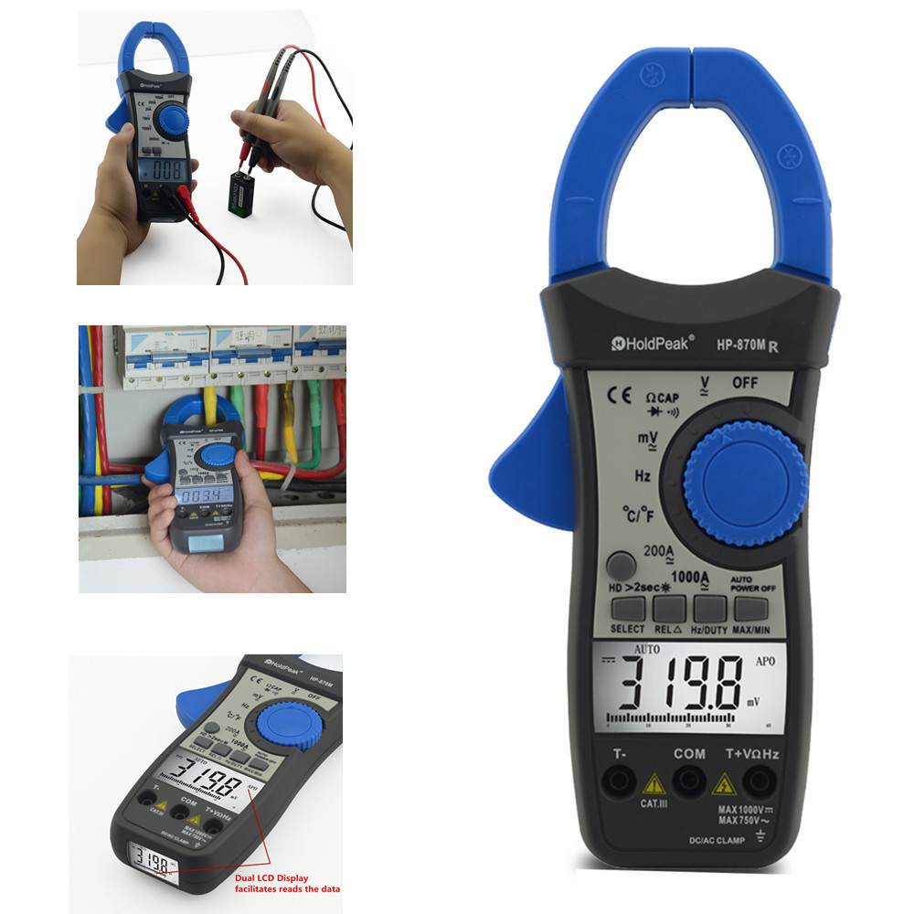 Holdpeak HP-870MR True RMS Auto Range Digital Clamp Meter DC Ac Current Voltage Multimeter With Data Hold Temperature Tester mini multimeter holdpeak hp 36c ad dc manual range digital multimeter meter portable digital multimeter page 1