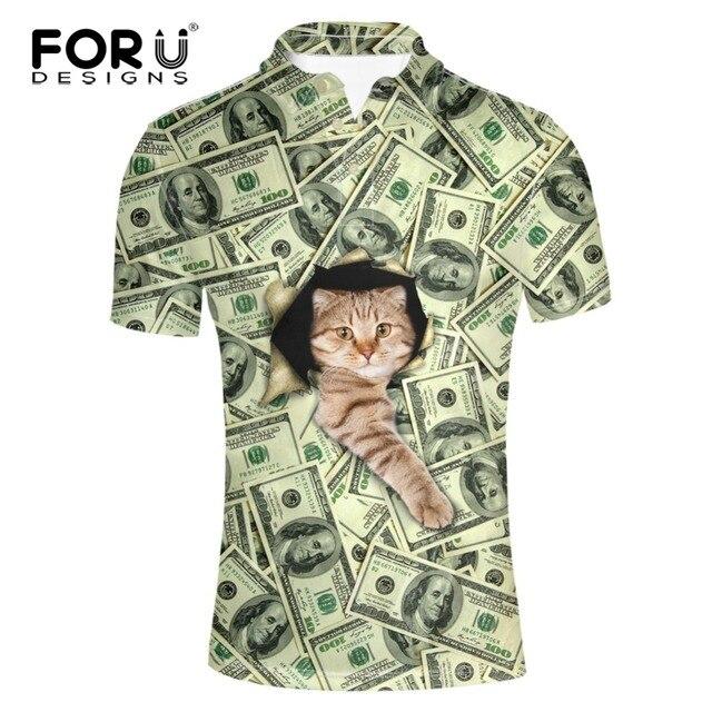 FORUDESIGNS 3D Доллар Цена Cat Pattern Polo Рубашка Мужская Одежда Бизнес & Casual Camisa Polo Летом С Коротким Рукавом Дышащий Поло