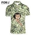 Forudesigns 3d precio del dólar del patrón del gato camisa de polo ropa de hombres de negocios y casual camisa de polo de verano transpirable de manga corta polos