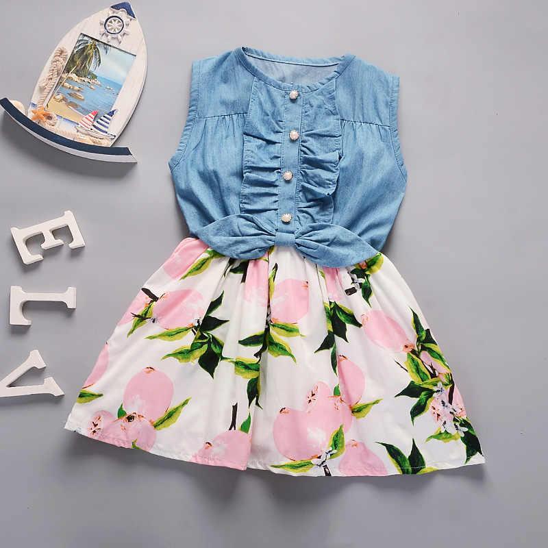 Бесплатная доставка, 2018 Новая летняя детская одежда для девочек, джинсовое платье, детское платье принцессы с принтом лимонов
