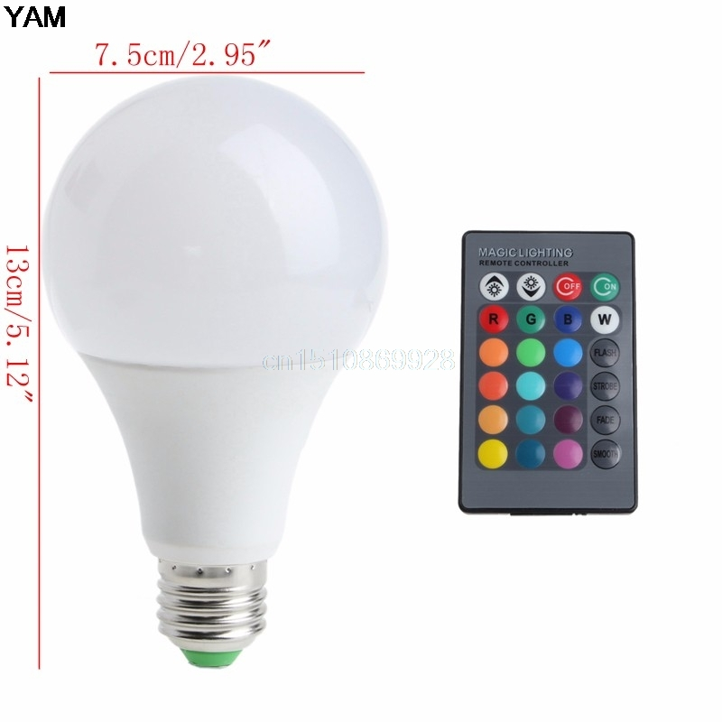 Wireless Remote Control 85-265V E27 LED 20W RGB Changing Light Bulb 16 Colors