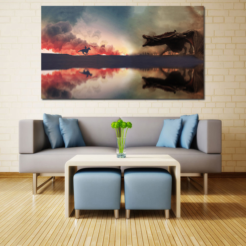 Fighting Game Of Thrones Art Canvas Posters Oil Painting Wall Pictures Prints Artwork Modern Home Bedroom Decoration Accessories-in Painting & Calligraphy from Home & Garden