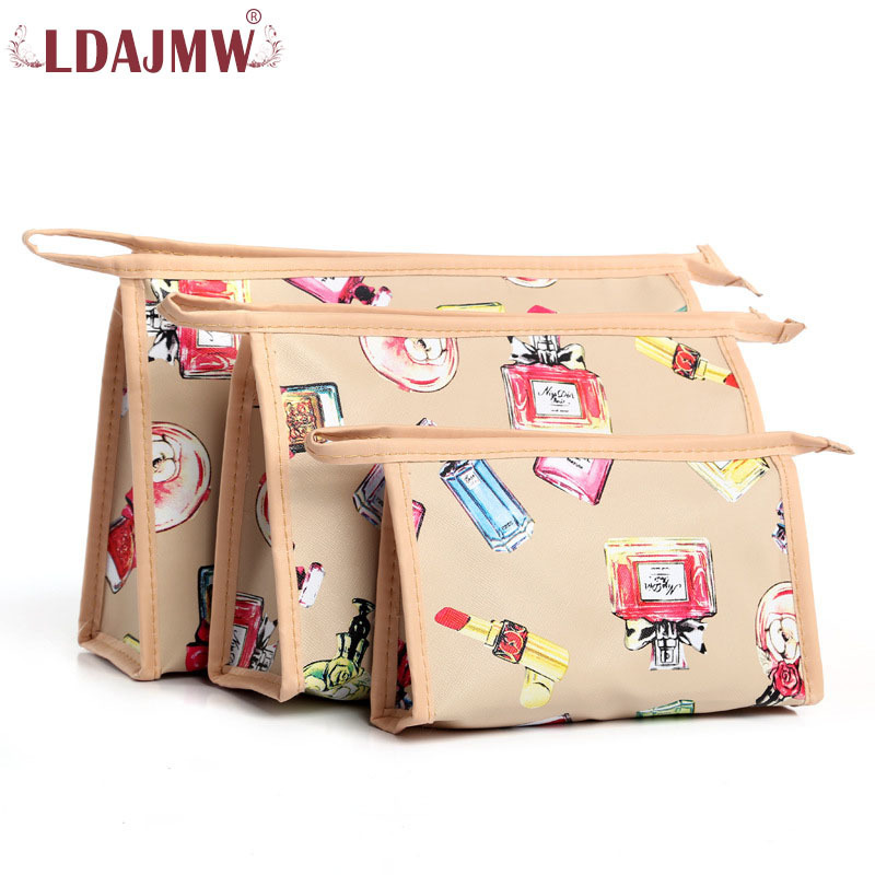 LDAJMW 3pcs/set Makeup Bag Fashion Design Women Cosmetic Bags Cases Travel Necessaire Cosmetic Bag Zipper Pouch цена 2017