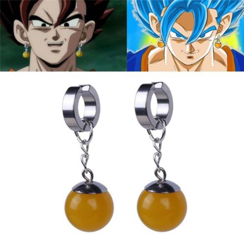 Super Dragon Ball Z Black Son Goku Zamasu Vegetto Time Earring Ear Costume Play Stainless Steel Earrings Gifts
