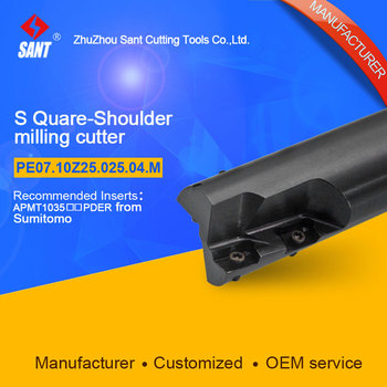CNC lathe machining center indexable square shoulder milling cutter tools holder with high precision for PE07.10Z25.025.04.M