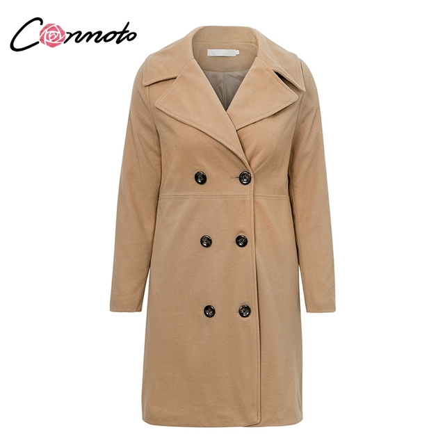 Conmoto Turn-down Collar Lapel Coat Thin Double Breasted Coats Women Casual Autumn Winter 2018 Wool and Blends Plus Size Coat