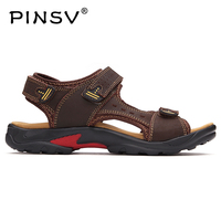 PINSV Brand Genuine Leather Summer Soft Male Sandals Shoes For Men Breathable Light Beach Casual Quality