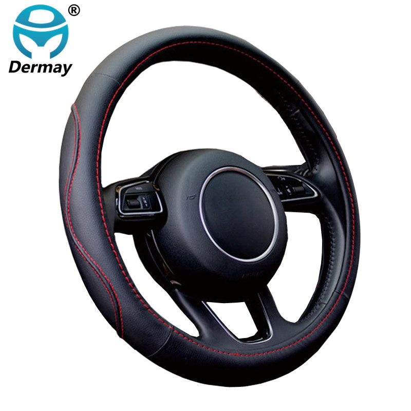 DERMAY Auto Car Steering-wheel Cover High PU Leather 7 Colors 4 Seasons Anti-slip 38CM Steering Wheel Car Styling Free Shipping