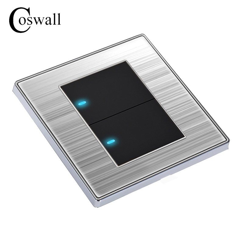 Coswall 2 Gang 1 Way Luxury LED Light Switch Push Button Wall Switch Interruptor Brushed Silver Panel 10A AC 110~250V mini interruptor switch button mkydt1 1p 3m power push button switch foot control switch push button switch