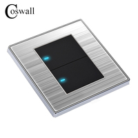2 Gang 1 Way Luxury LED Light Switch Push Button Wall Switch Interruptor Brushed Silver Panel