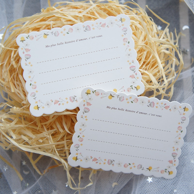 50pcs Wave border style leave message cards Lucky Love valentine