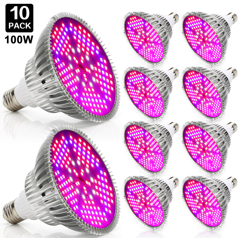 10pcs 100w Grow Led Full Spectrum E27 Led Grow Light Industrial Led Lamp For Indoor Plants Growing Hydroponics System Greenhouse