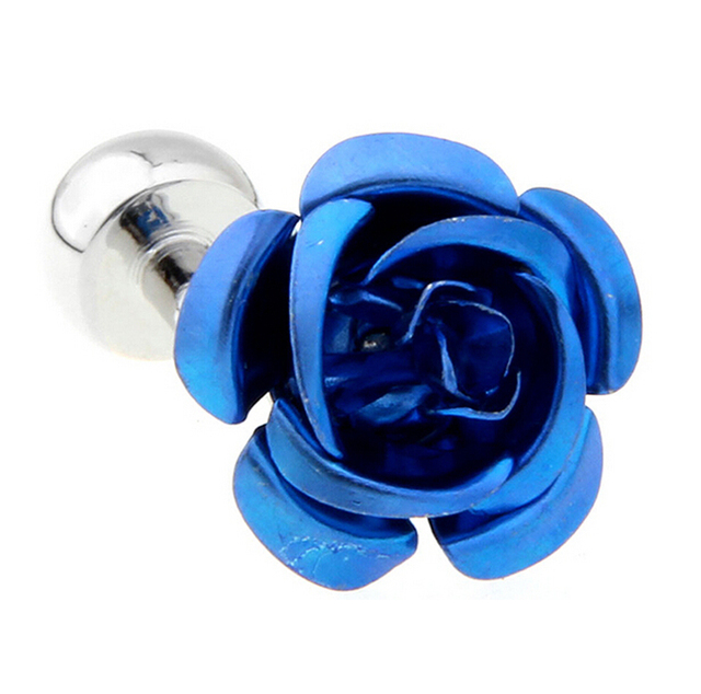 Igame Factory Price Cuff Links Copper Material Blue Rose Flower Design Cufflinks
