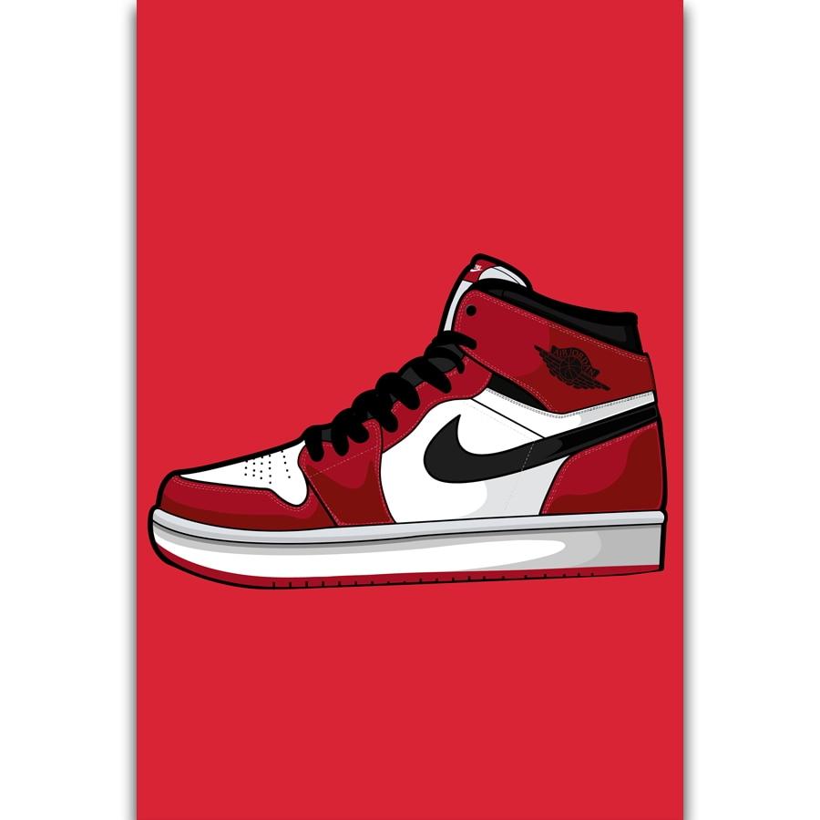2655f9dfe433af S2789 Michael Jordan AJ AF 1 Shoes Sneaker Fashion History Wall Art  Painting Print On Silk