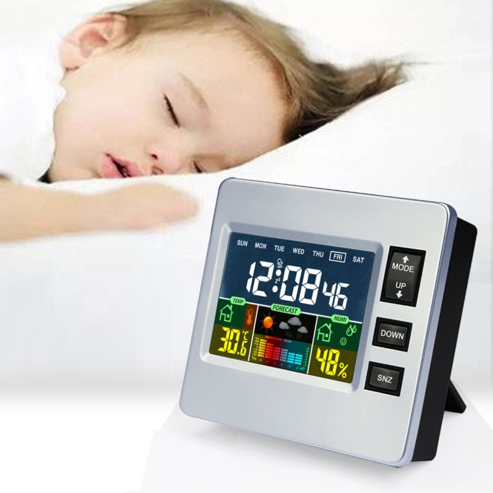 font b Electronic b font LCD Digital Clock Hygrometer Weather Forecast Clocks Max Min Temp
