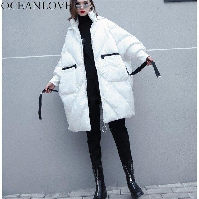 OCEANLOVE Ayrılabilir Yaka Baskı Harfler Ceket Kadın Fermuar Kapüşonlu Fermuar Kış Ceket Yeni Tasarım Gevşek Moda Parkas 10441