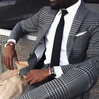Grey Mens Vintage Plaid Suits British Style Men Slim Fit Suits Notch Lapel Groomsmen Wedding Suits Tuxedos(jacket+pant)