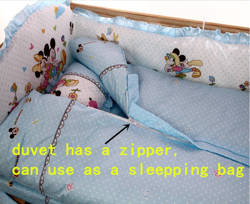 Фото Promotion! 6PCS Cartoon Baby Bed Crib Cots And Cribs Bedding Sets (3bumper+matress+pillow+duvet). Купить в РФ