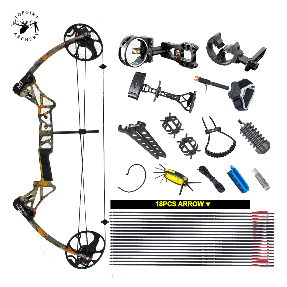 Ship From USA Warehouse Compound Bow Package M1 19-30 inch Draw Length 19-70Lbs Draw Weight 320fps IBO LIMBS topoint archery compound bow package m1 19 30 draw length 19 70lbs draw weight 320fps ibo