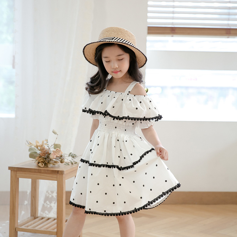 Dot Princess Dress Teenage Girl 14 Years With Lace Crochet Floral
