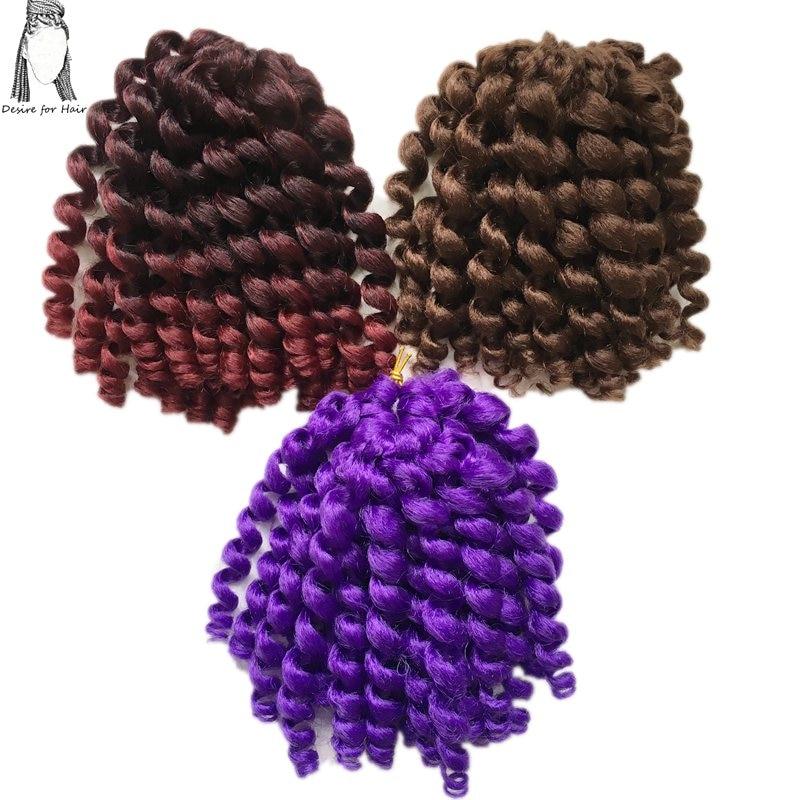 Önskning för hår 1pack 8inch 70g 20strands per förpackning Höxa Häftig Häfta Curl Jamaican Bounce Twist Syntetisk Hårförlängning Flätor