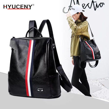 Hot New Fashion Woman Casual Backpack High Quality Youth Leather Backpacks for Teenage Girls Female School Shoulder Bag Bagpack 2018 new retro fashion zipper ladies backpack leather high quality school bag shoulder bag for youth bags leather tassel