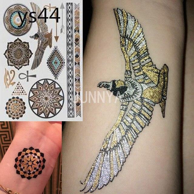 20x14.5 cm Égyptien or temporaire autocollant de tatouage flash