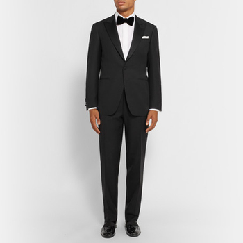 Costume Homme Slim Fit Two Pieces Tuxedo One Button Pesked Lapel Business Suits Evening Clothing (jacket+pants+bow Tie)