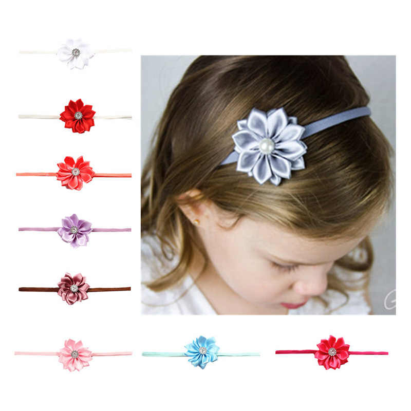 baby flower headband Girl Elastic Hairband Children Stretch Turban Flower baby headband Headwear Cloth baby accessories