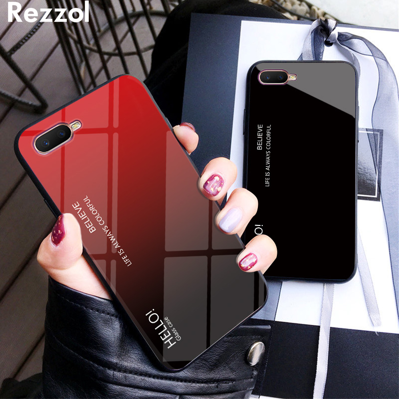For OPPO RX17 Neo Case Tempered Glass Luxury Gradient Soft TPU Frame Case Cover For OPPO RX17Neo Phone Case Hard Fundas