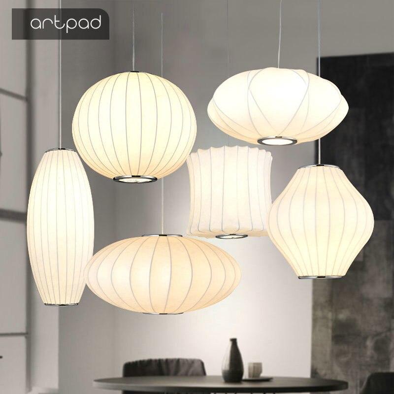 Lampe Suspension moderne en tissu romantique avec abat-jour en soie blanche Pure pour décoration de mariage chambre salon Suspension