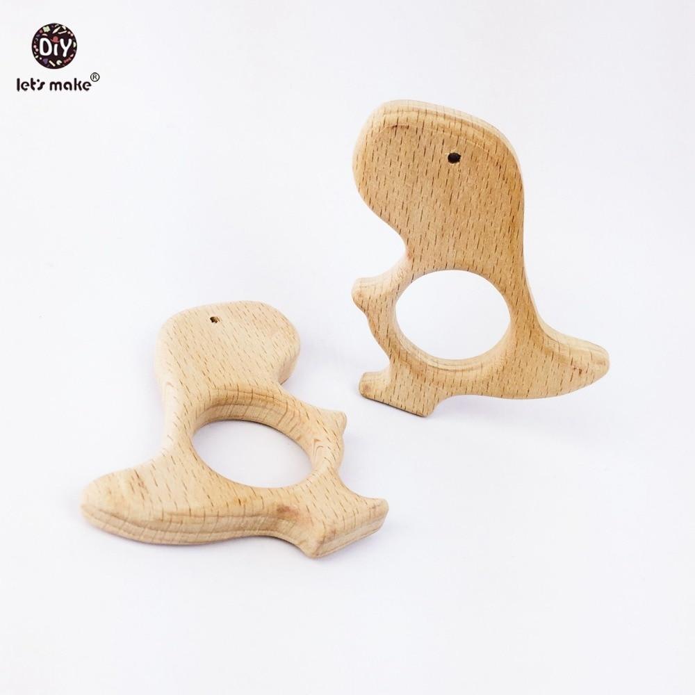 Let's Make Baby Teether Accessories Nursing Bracelet 5PC Natural Unfinished Wooden Dinosaur Pendant Dinosaur Toys Grasping
