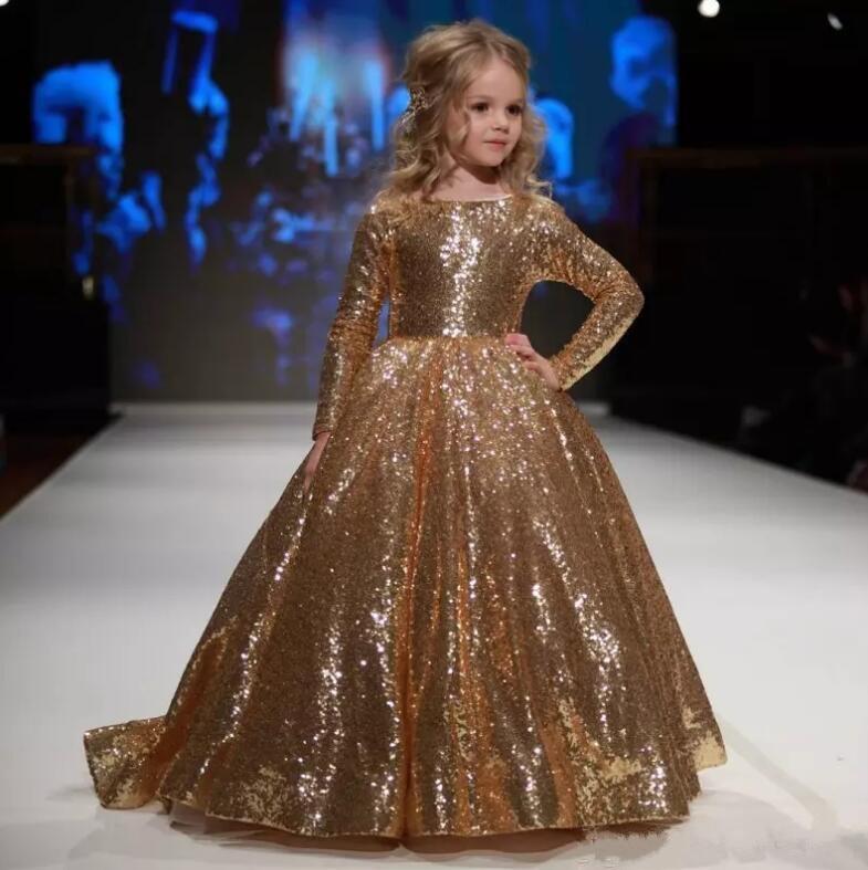Gold Sequined Little   Girls   Pageant   Dresses   Jewel Neck Long Sleeve Kids Formal Wear   Flower     Girls     Dresses   Birthday Christmas Gown