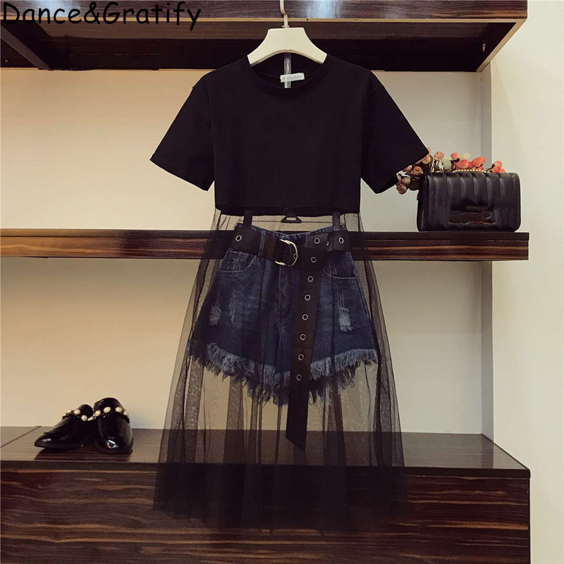 New 2020 Summer Women 2 Pieces Jeans Set Girls Mesh Cotton Patchwork Dress And Denim Shorts Chic Pants Suit Faux Leather Belt