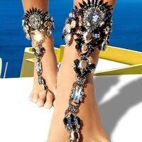 Summer Beach Ankle Bracelet Black Full Rhinestone Pie Leg Foot Chain Sexy Barefoot Sandals Boho Crystal Ankle Feet Jewelry 1pcs