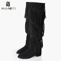 Prova Perfetto Winter Newest Women Boots Fashion Back Zipper Fringe Design Flock Over The Knee Boots Short Plush Warm Boot 2017